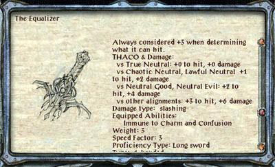 """Cómo forjar la espada de """"Ecualizador"""" en puerta de Baldur 2"""